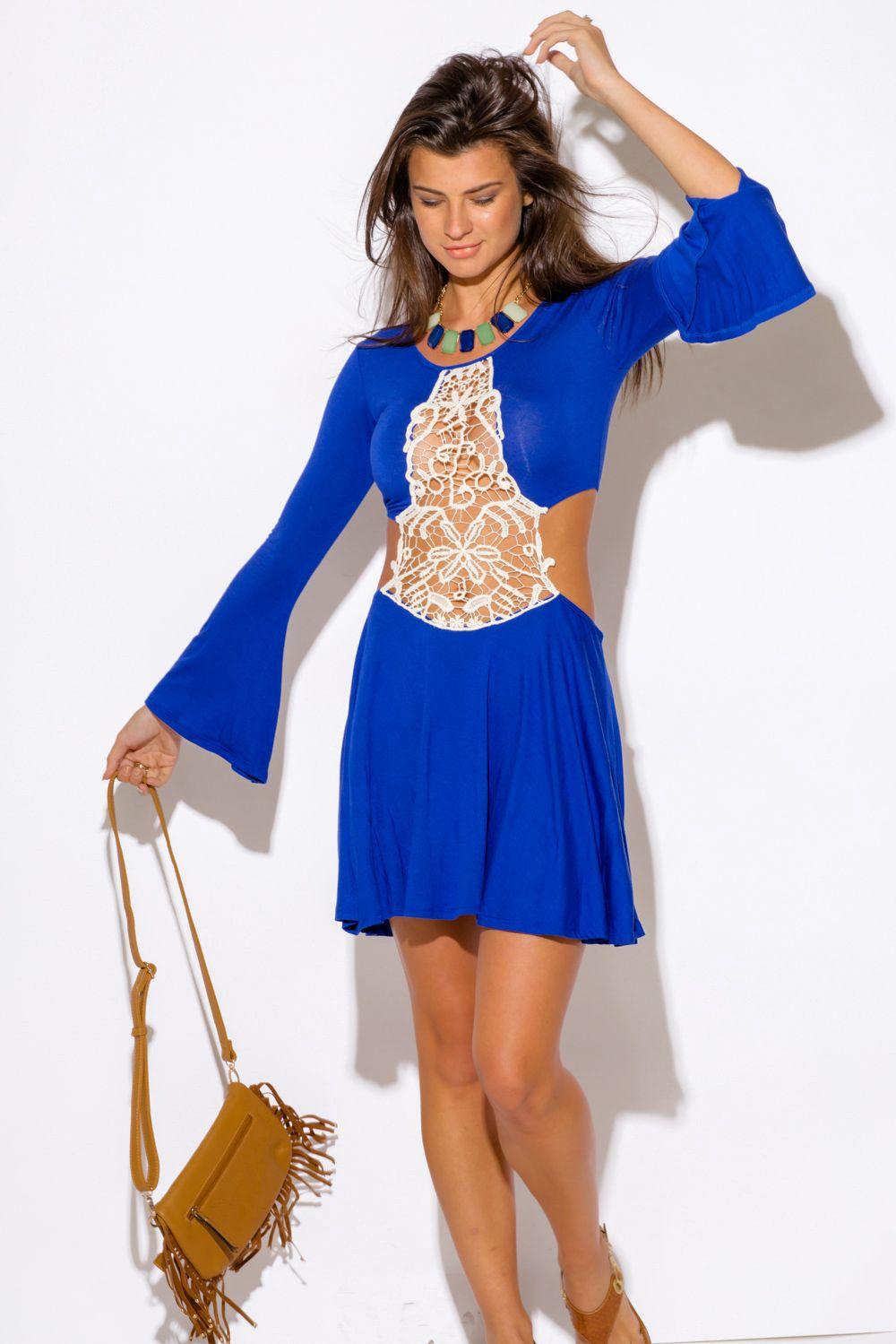 Honolulu royal blue crochet cut out backless bell sleeve boho