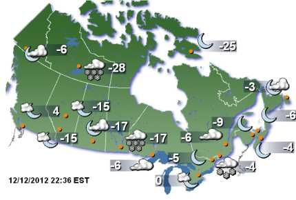 Weather Forecast Canada Map For 12 12 12 Alberta Weather