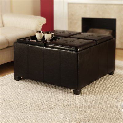 Convenience Concepts R8-106 Designs4Comfort™ Times Square Ottoman with Four Tray Tops - Home Furniture Showroom