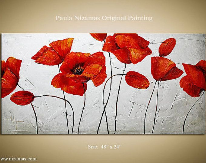 Painting Vivid Colors Of The Flowers And A Sky Blue In The Etsy Poppy Painting Oil Painting On Canvas Canvas Painting