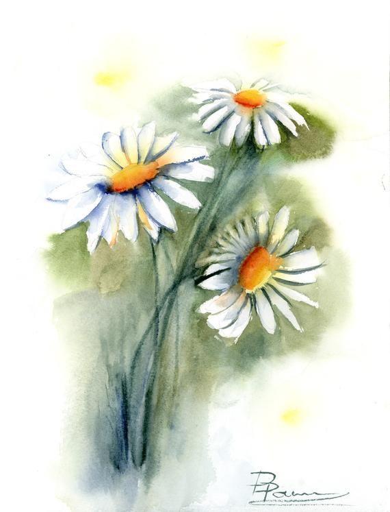 Watercolor daisies Original painting Chamomile flowers Floral artwork Daisy  wall art decor Botanical