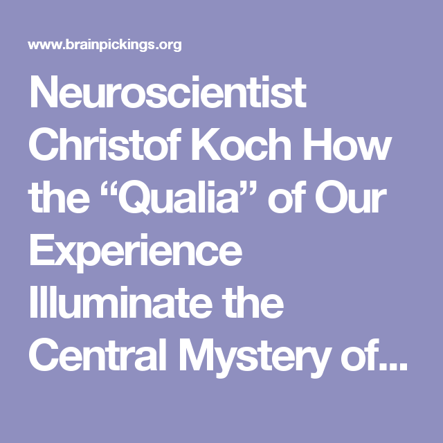 Neuroscientists Illuminate Role Of >> Neuroscientist Christof Koch On How The Qualia Of Our Experience