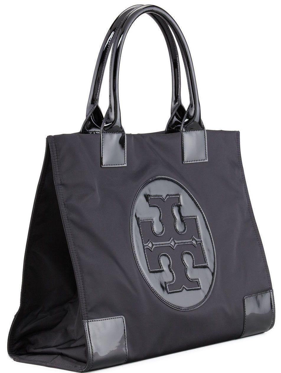 b3b6709ae0f NEW Authentic Tory Burch Ella Nylon Logo Tote Bag 13X17X6 Black LARGE