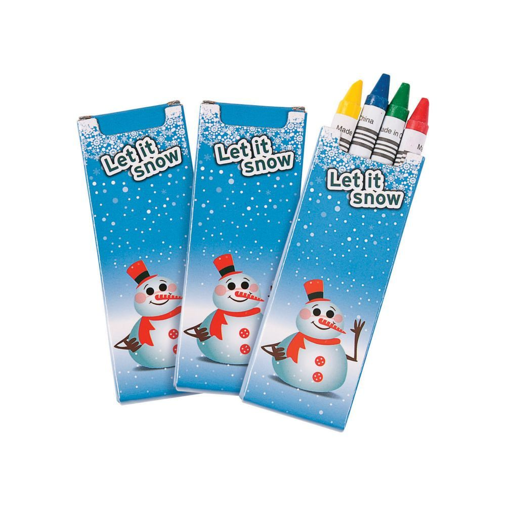 4 Color Winter Crayons 24 Boxes Oriental Trading Christmas Coloring Books Free Christmas Coloring Pages Coloring Books