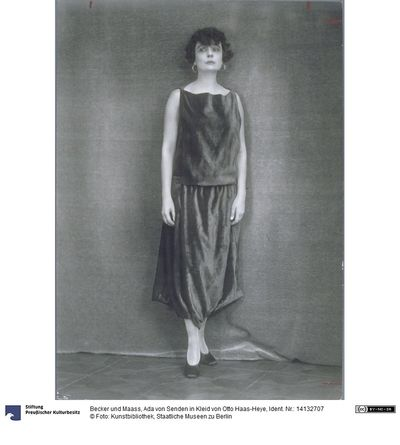 Photo of Ada von Senden in a dress by Otto Haas-Heye, taken by
