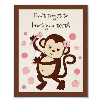 This is adorable wall art for the bathroom. This cute little monkey reminds your little girl to brush her teeth.