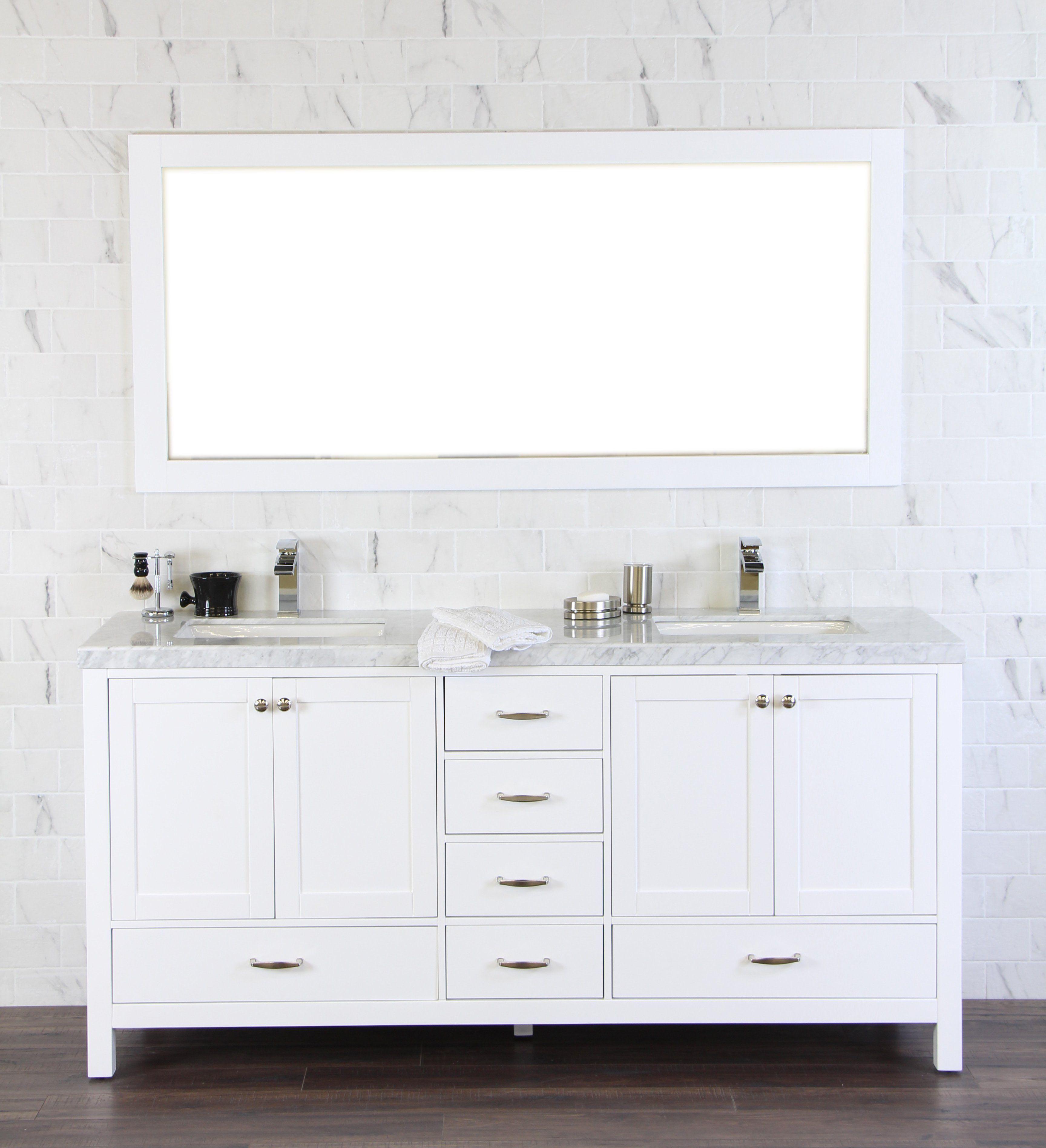 "Abigail 72"", Naos, White Bathroom Vanity with 3cm Bianco"