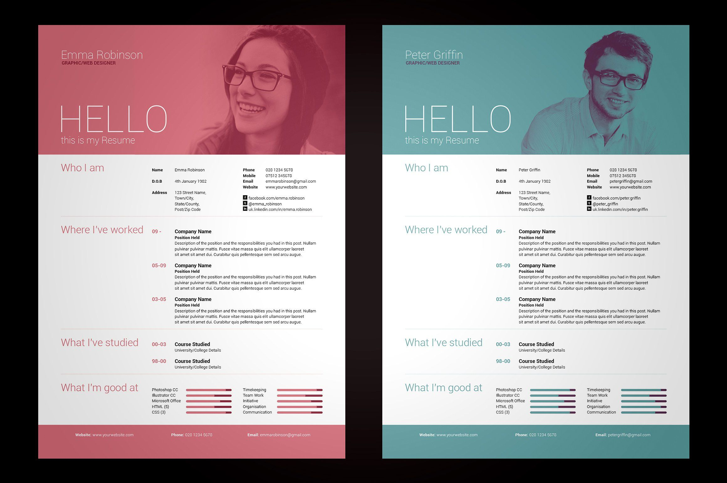 My Resume V By Bilmaw Creative On Creativemarket  Resume