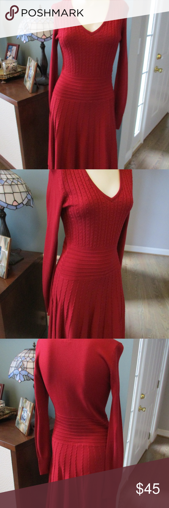 Vince Camuto Red Acrylic Fit Flare Dress S Beautiful Long Sleeve Dress From Vince Camuto In Size Small 100 Acrylic Fit Flare Dress Flare Dress Clothes Design [ 1740 x 580 Pixel ]
