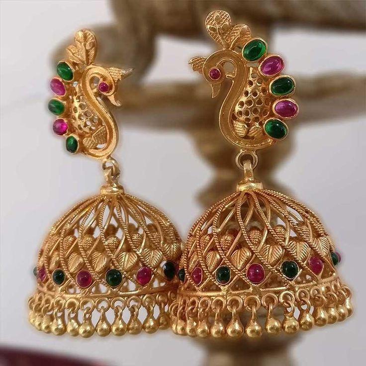 peacock motif temple jewellery jhumka