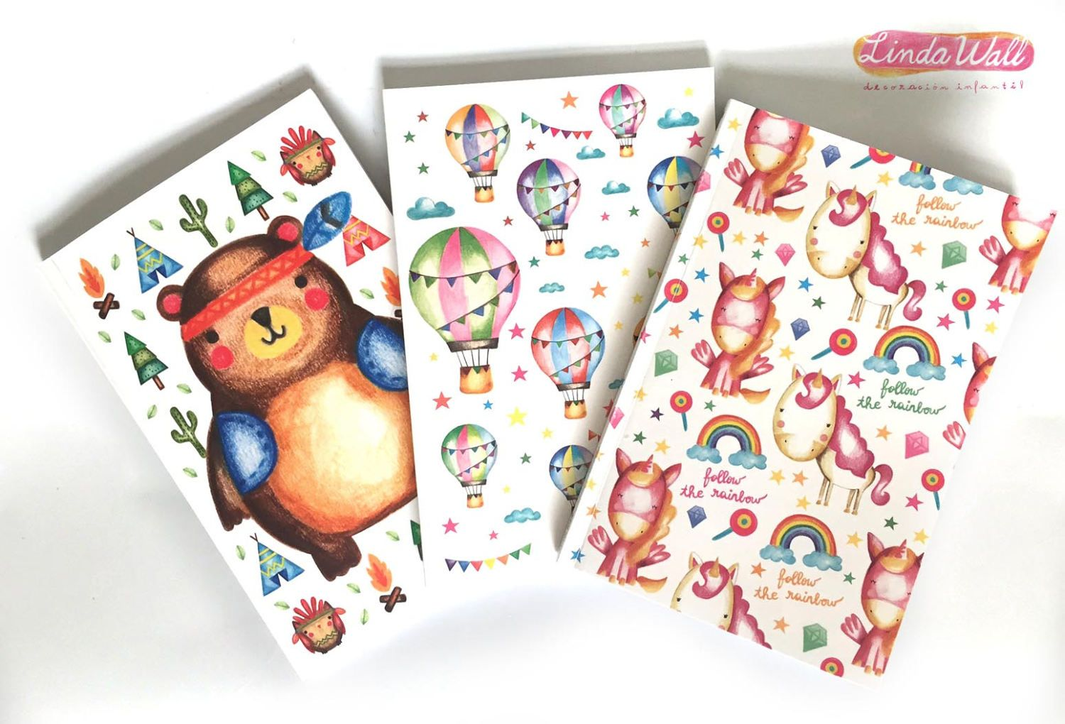 planner notepad Hot air balloons Notepad Memo pad woodland creatures unicorn gift To do list for kids Tribal Bear unicorn birthday