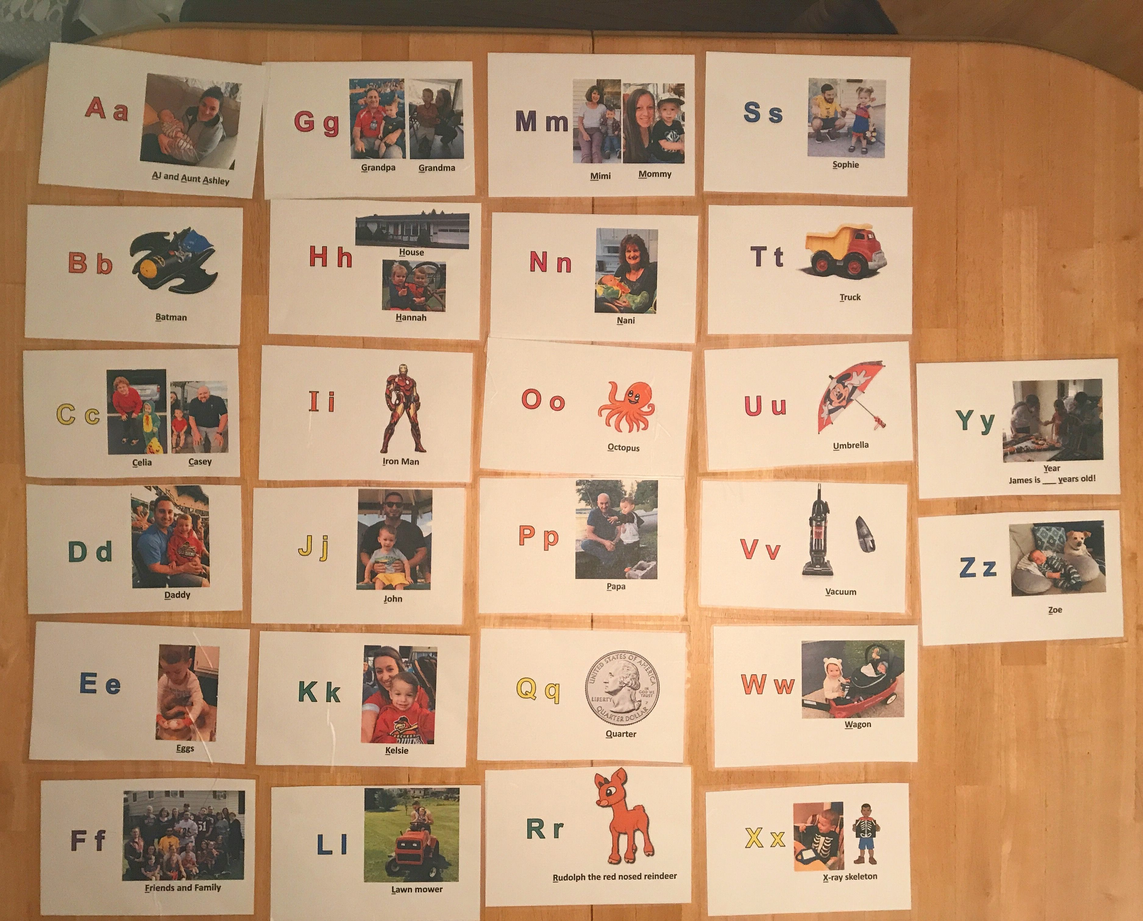 Make Letter Recognition Flash Cards Using People And