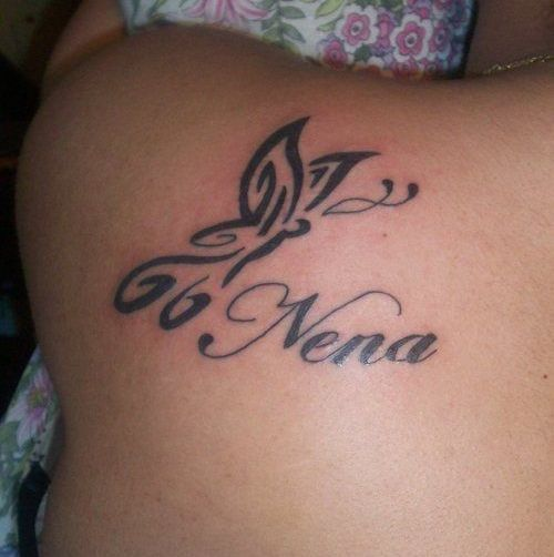 Black Tribal Butterfly With Nena Name Tattoo On Left Back