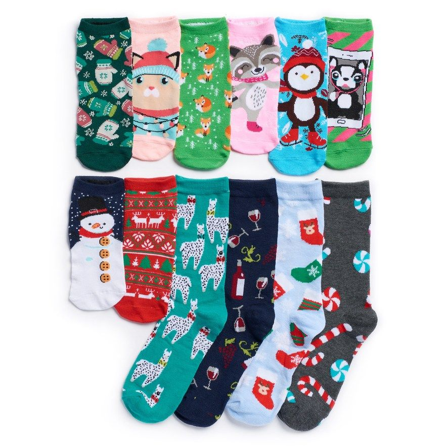 Women S Christmas 12 Days Of Socks Advent Calendar Set Socks Advent Calendar Advent Calendar Christmas