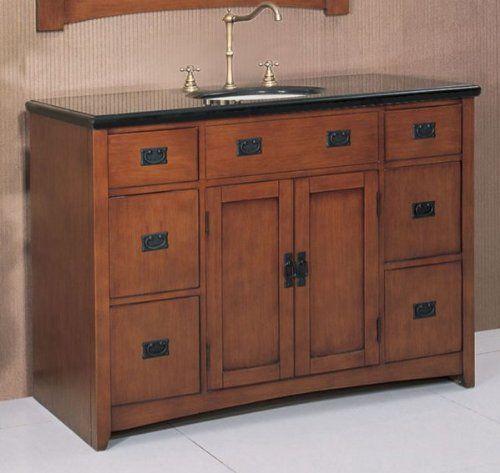 Mission Bathroom Vanity Medium Pecan 34 2 H X 48 W X 20 1 D By