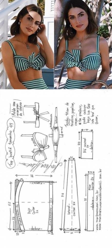 Top bustiê | DIY - molde, corte e costura - Marlene Mukai | patrones ...