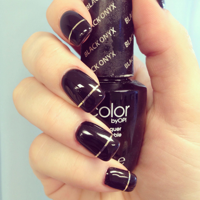 Black LCN gel nails with gold stripe tape! | MakeUP* | Pinterest