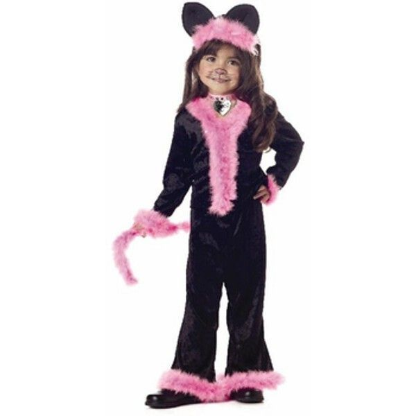 New Kids Pretty Kitty Girls Costume Black Pink Kids Fancy Dress Outfit