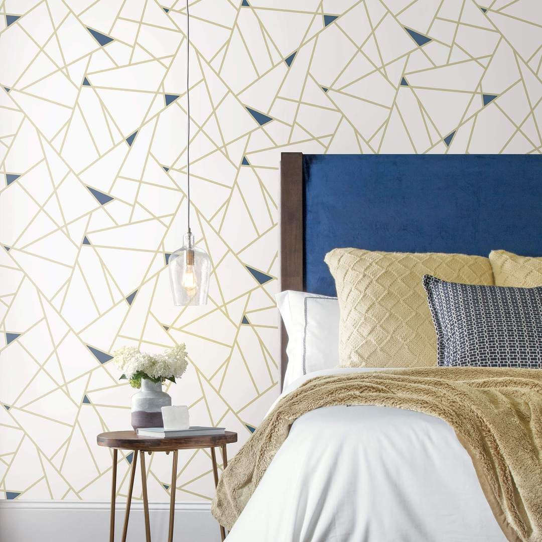 Fracture Geometric Peel and Stick Wallpaper Gold Peel