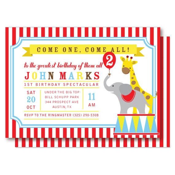 circus birthday invitation, carnival invitations, under the big, Birthday invitations