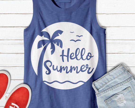 Hello Summer svg, Summer svg, Beach svg, Palm Trees svg