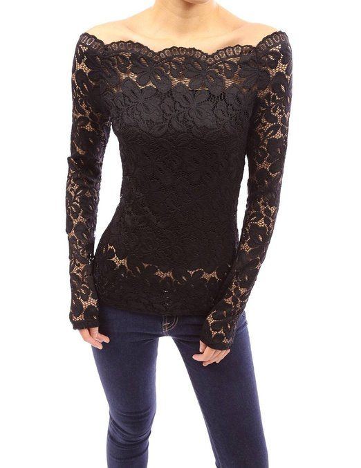 a555ed66efb35 ZANZEA Women s Sexy Embroidery Blouse Off Shoulder Floral Lace Long Sleeve  Tops (UK 14