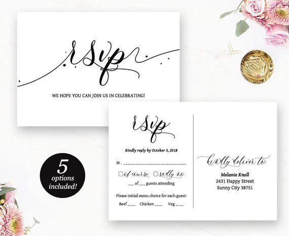 Rsvp Postcard Printable Wedding Rsvp Card Wedding Response Rsvp