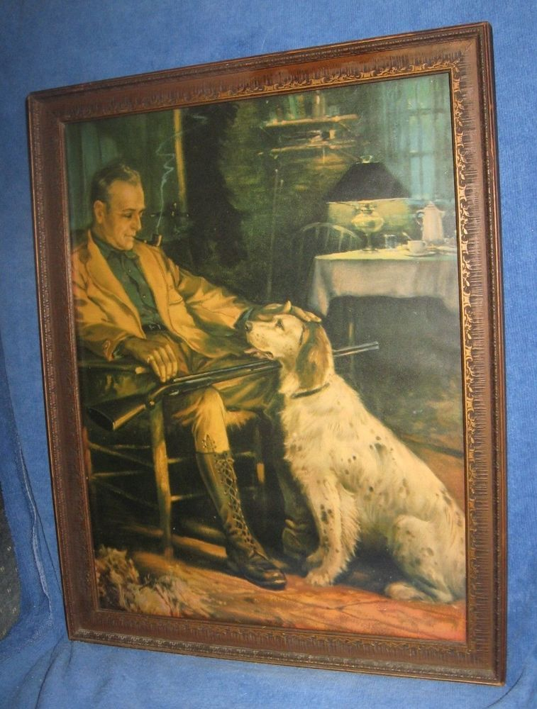 Vintage 1920s Hunting Framed Print by Charles Relyea Man And His Dog ...