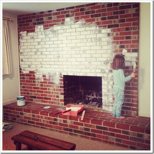 how tpo paint a brick fireplace so with a little help from peyton i painted all those bricks. Black Bedroom Furniture Sets. Home Design Ideas
