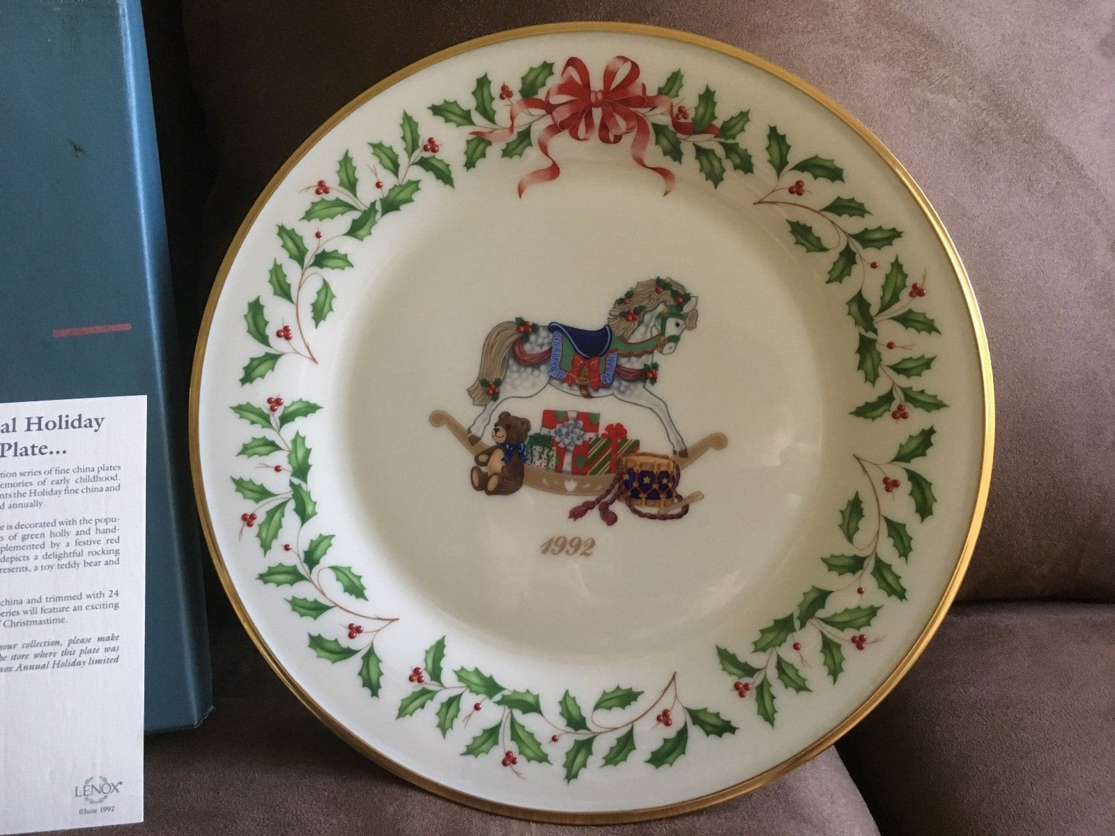Lenox China 2Nd Annual Holiday Christmas Plate 1992 Rocking Horse