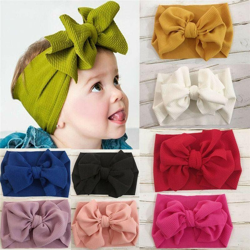 Cute Toddler Bow Knot Head Wrap Kids Girls Baby Headband Stretch Turban Hairband