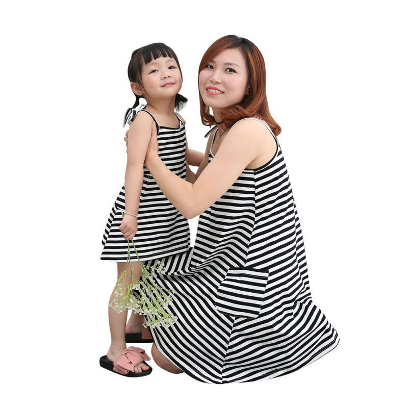 d827c97483 Family Look Matching Clothes Mother Daughter Dresses Fashion Sleeveless  Striped Cotton Mom And Daughter Dress Clothing LM58