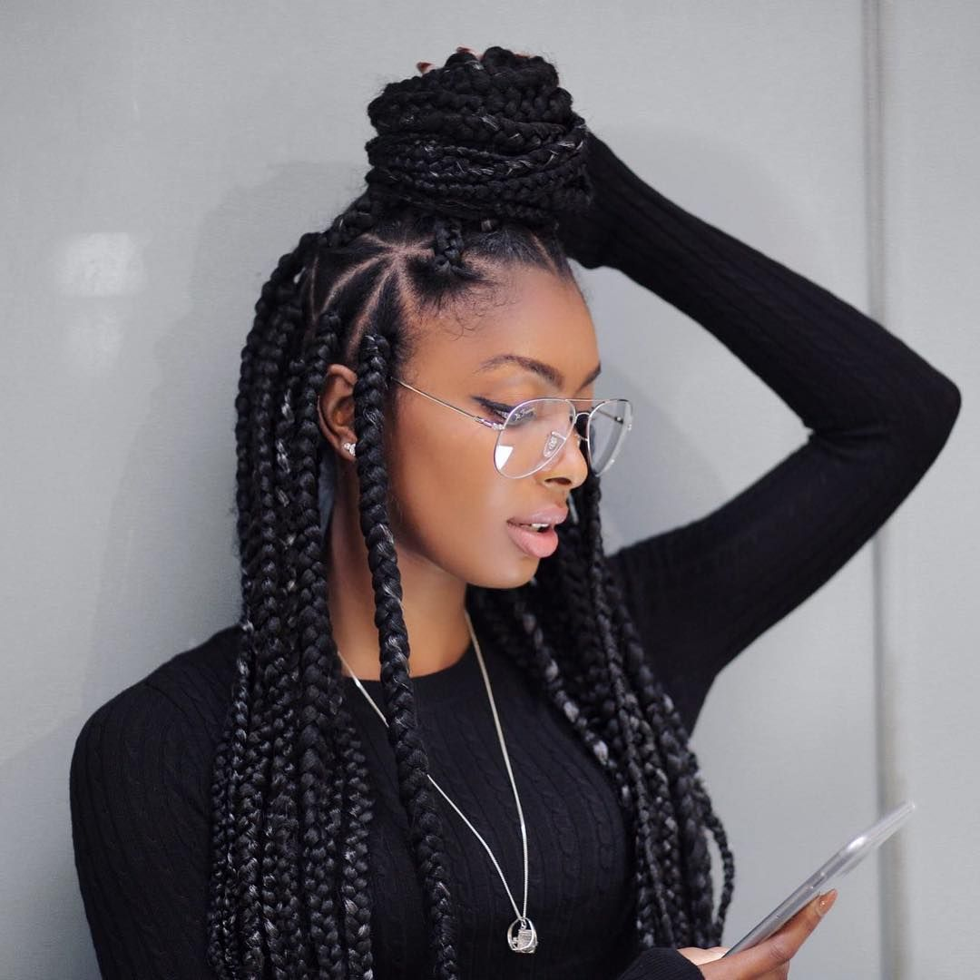 Nice breathtaking hairstyles with big box braids being