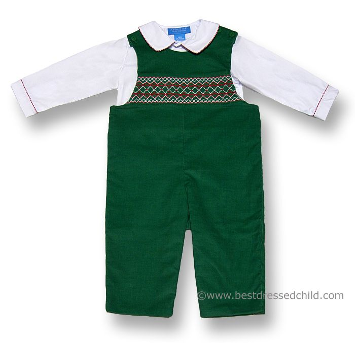 2000de1f0 Anavini Baby Boys Christmas Green Corduroy Ted Smocked Longall with ...