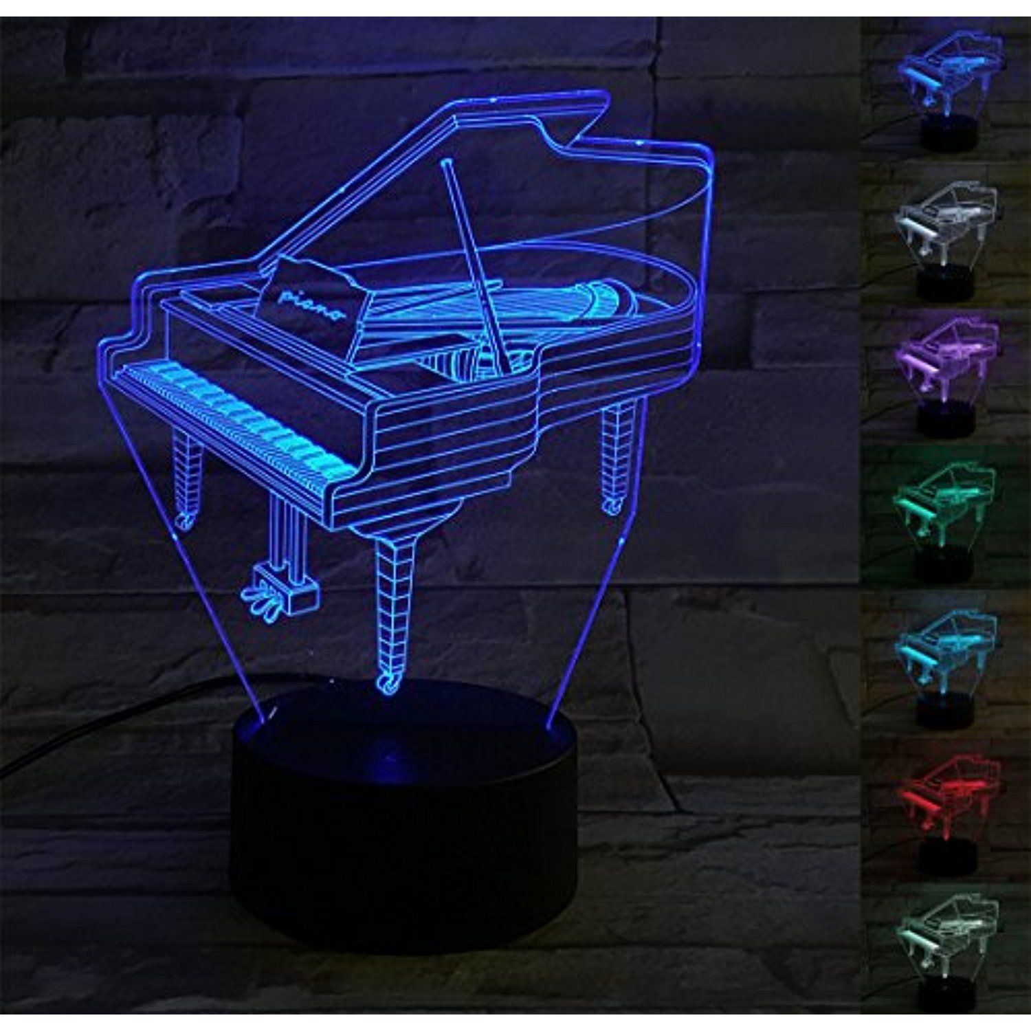 Ybest 3d Illusion Lamp Piano 7 Colors Changing Led Night Light For Home Decor Usb Powered Touch Button Des Cool Gifts For Kids 3d Illusion Lamp Led Night Light