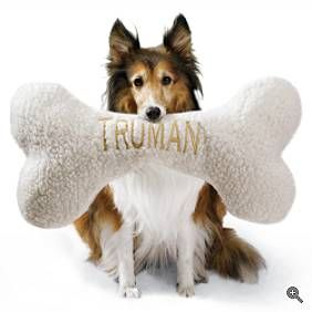 For the Dog: Sherpa Bone Pillow: Make even the smallest dog feel like the alpha! With complimentary personalization (up to 10 letters) $19.50
