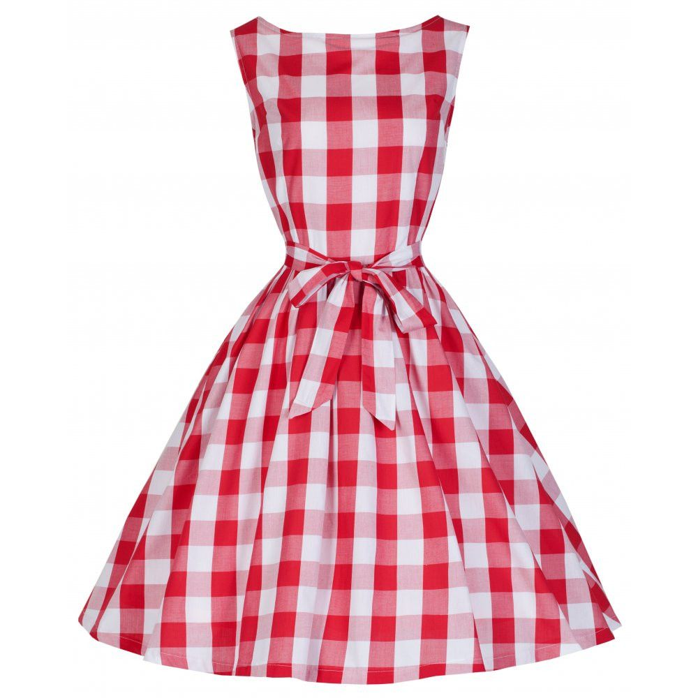 Audrey  Red Check Swing Dress  fa5d3795f7