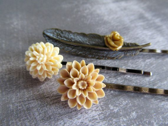 Three flower and feather hair pins  beige and by PaigeandPenelope