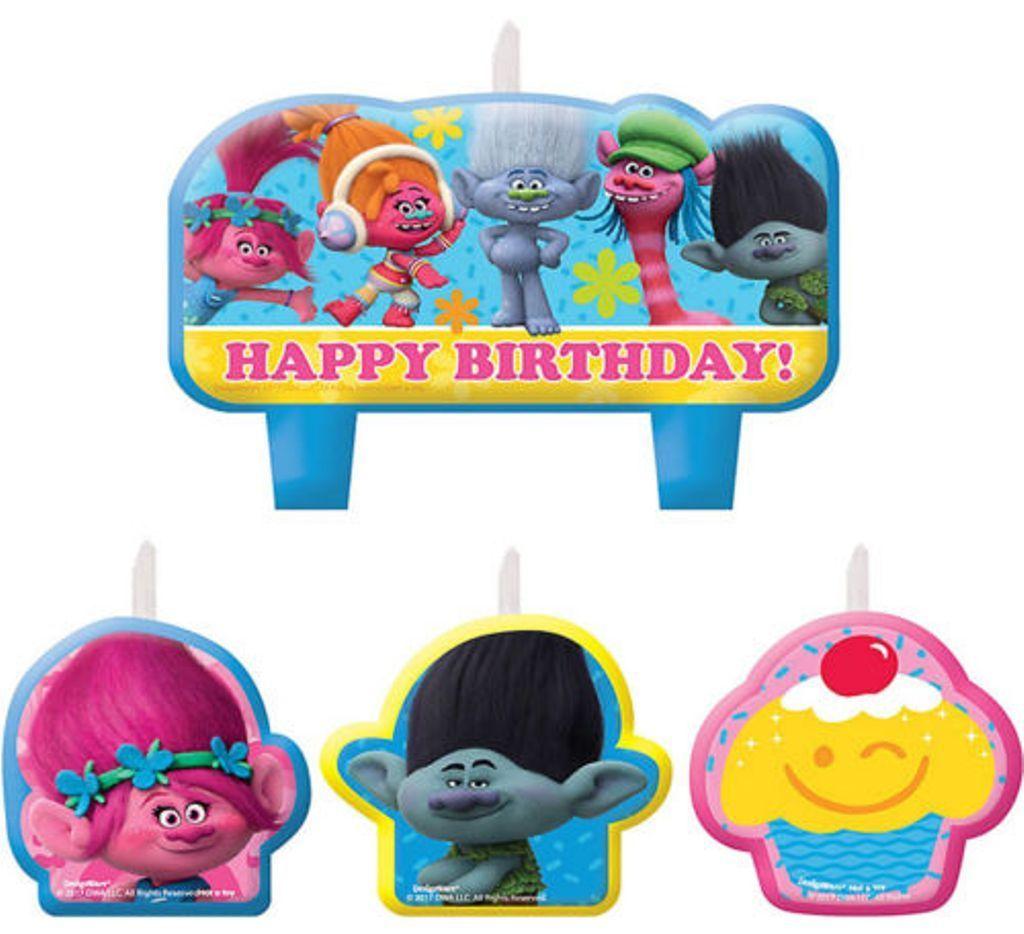 Trolls Princess Poppy & Friends Candle Set Birthday Party ...