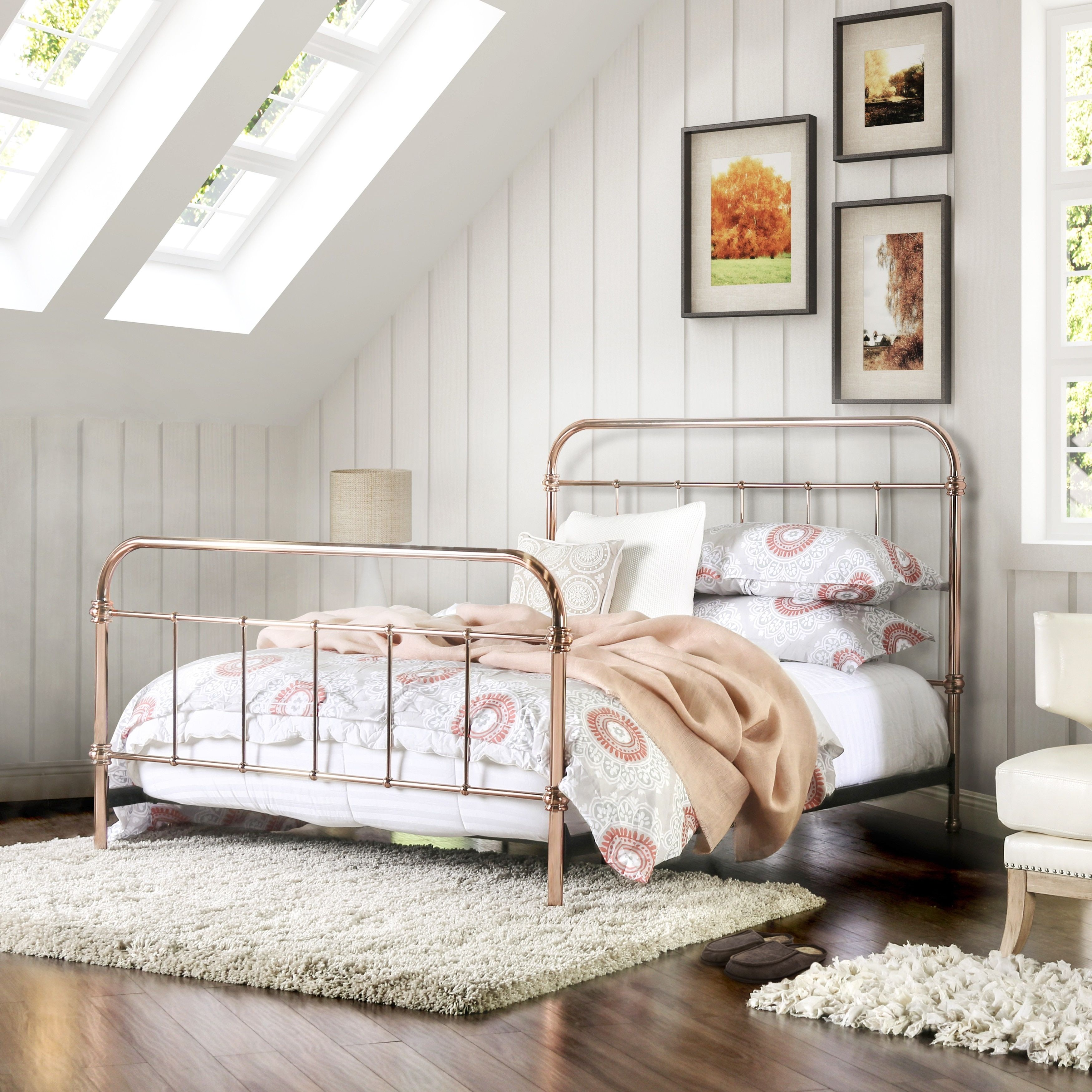 Furniture of America Melly Rose Gold Metal Twin Size Bed | Overstock ...