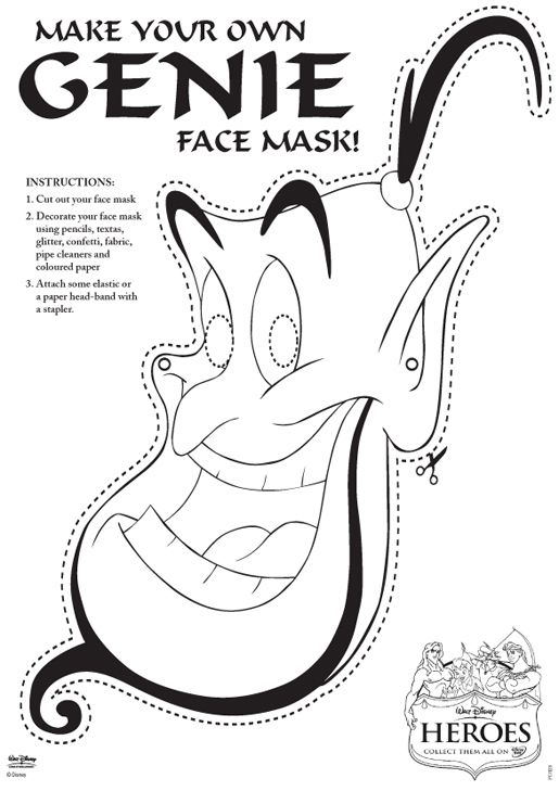 Genie Face Mask Free Printable | Aladdin Birthday | Pinterest | Face ...