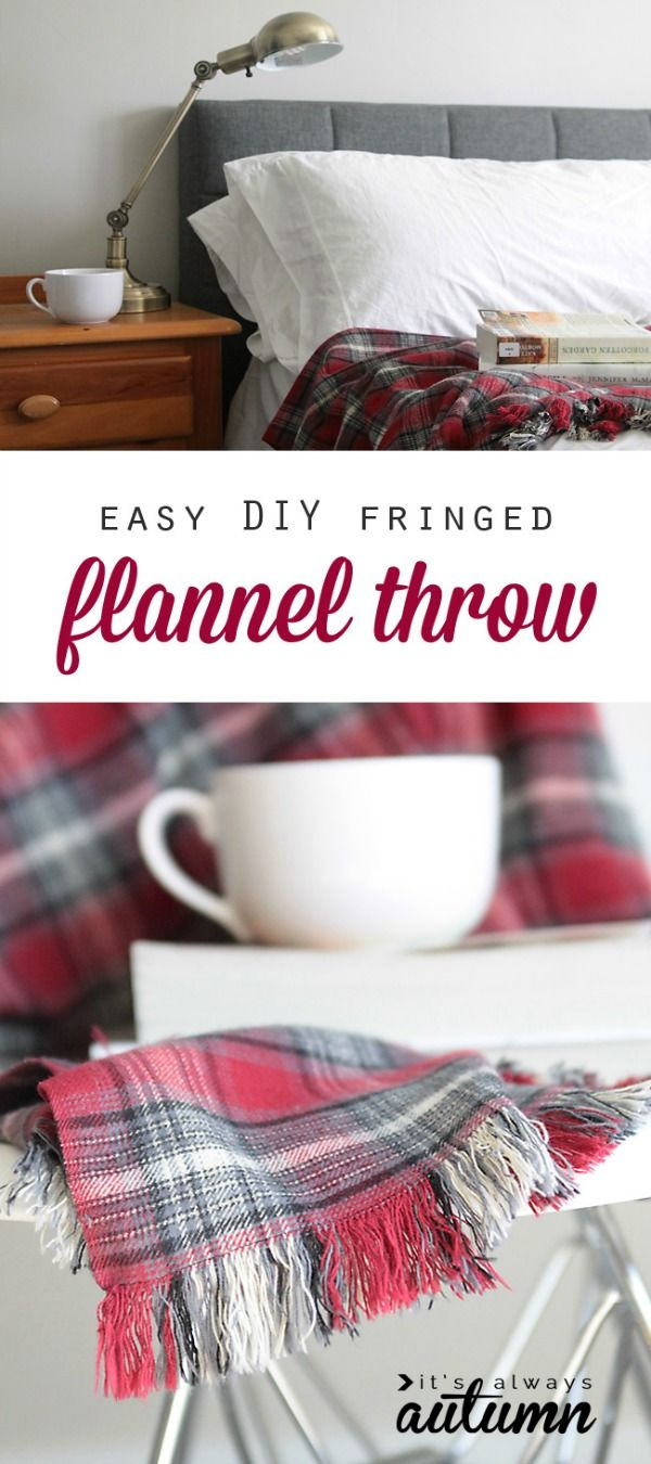 DIY Fringed Flannel Throw: Holiday Inspiration | Flannel blanket ...