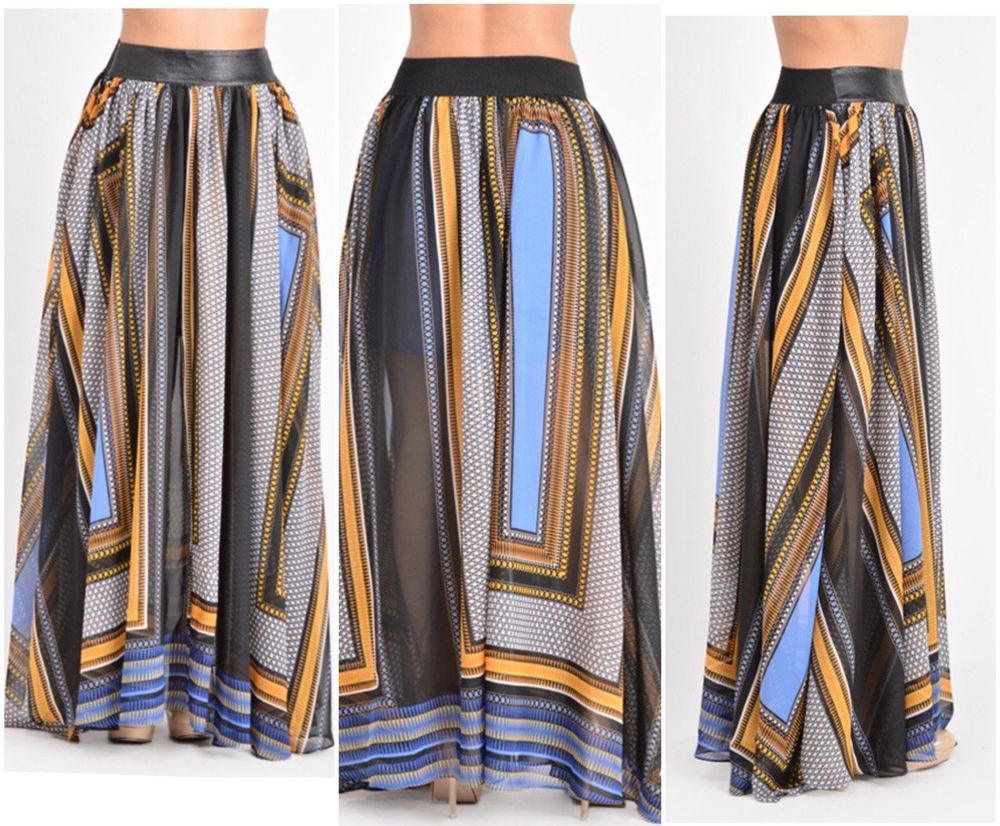 New Boutique Faux Leather Waist Band Printed Maxi Skirt With Pockets Size 3X