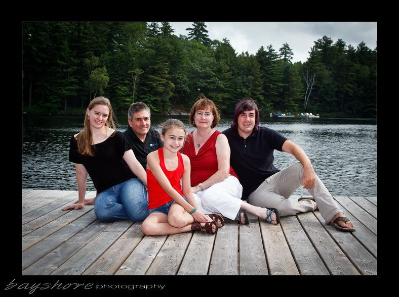 Family of five on dock orr 029 parry sound photographer by bayshore photography bayshorephoto
