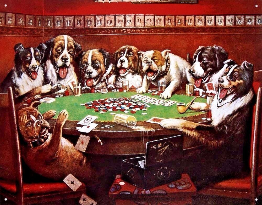 Poker Dog Game Dorm Room Metal Tin Sign Man Cave Bar Pub Garage Picture Poster Dogs Playing Poker Dog Paintings Dog Art