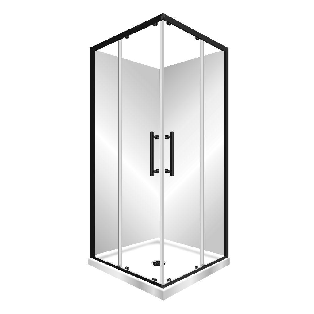 V Slider 900x900 F W Shower Black Safety Glass Sliding Doors Modern Minimalist