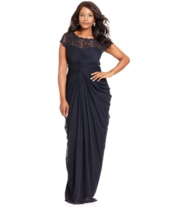 45e24e9f3cd8b ADRIANNA PAPELL Lace Yoke Drape Mesh Gown Size 16 Navy Blue Sleeveless