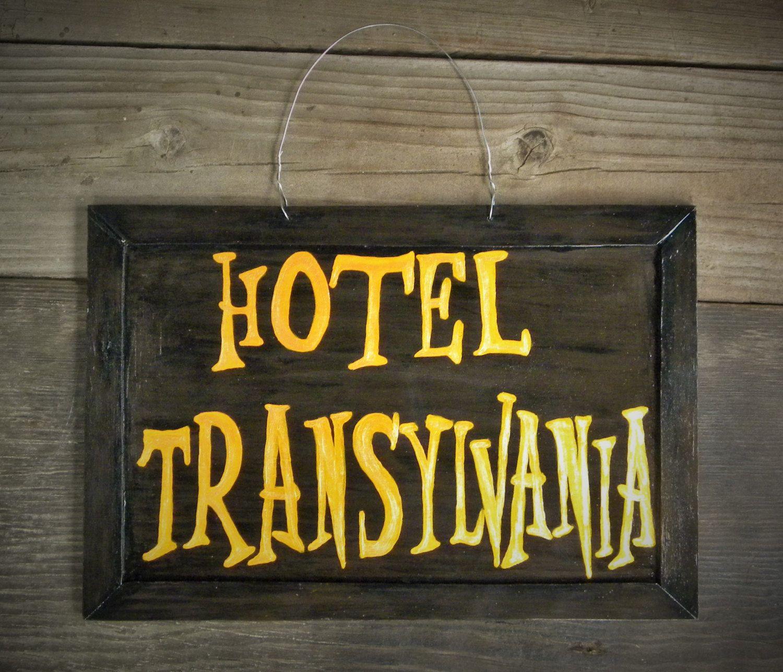 Hotel transylvania hotel sign halloween fall door for Hotel door decor