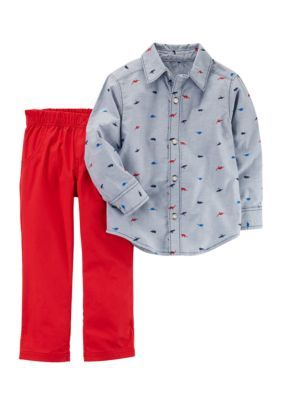 56536848c Carter's Embroidered Chambray Shirt & Pants Two-Piece Set - Multi - 12  Months
