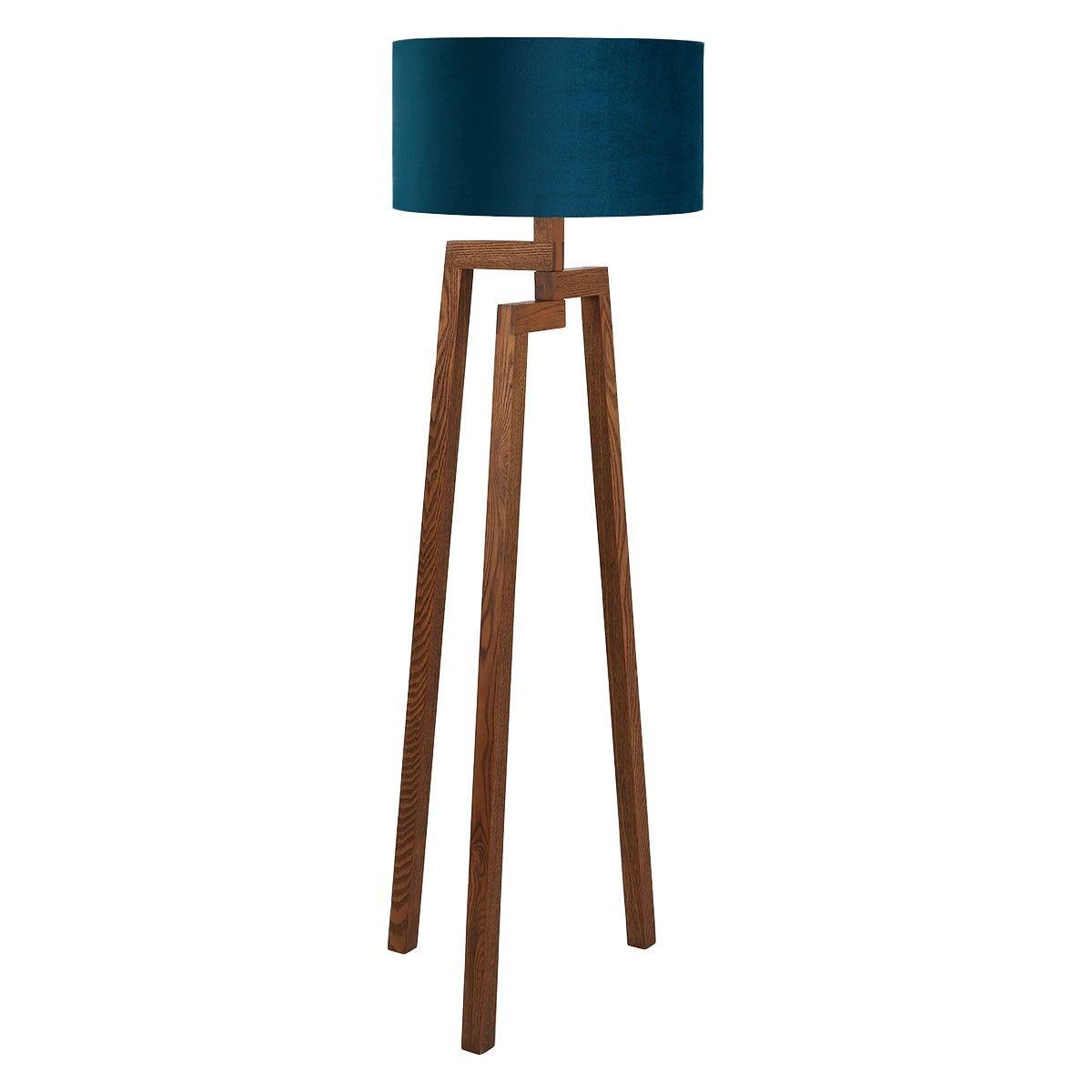 Dylan Walnut Wooden Floor Lamp With Green Velvet Shade